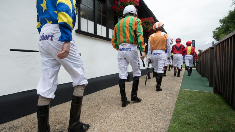 Whips in hand jockeys walk out for the Silver Bunbury CupNewmarket 14.7.17 Pic: Edward Whitaker