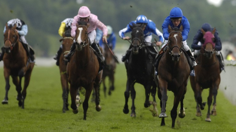 Shamardal (right) wins the St James's Palace Stakes under Kerrin McEvoy at York in 2005