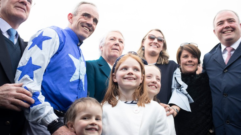 Ruby Walsh is surrounded by his family following his announcement to retire from riding