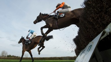 jumps the 4th last fence and wins the 2m 1f handicap chasePlumpton 18.1.16 Pic: Edward Whitaker