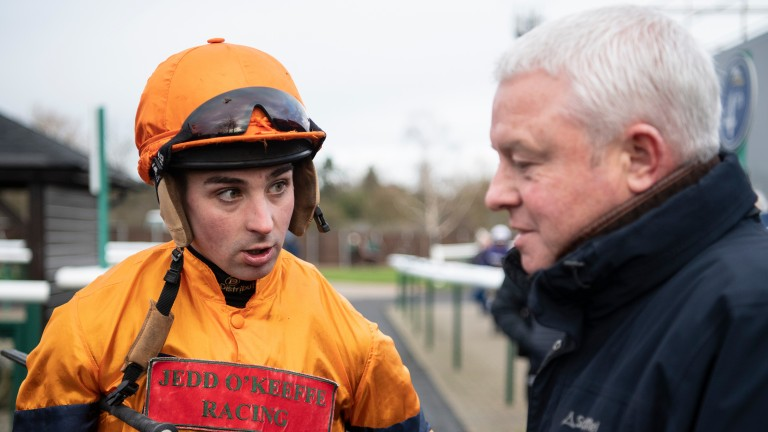 Joe Colliver speaks to trainer Jedd O'Keeffe after Miah Grace had finished 3rd in the 2m handicap hurdleLeicester 29.1.20 Pic: Edward Whitaker