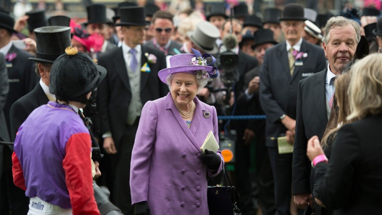 Her Majesty shares a moment with winning jockey Ryan Moore after Estimate's brave win