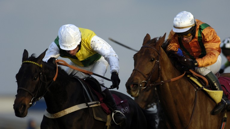 Trabolgan (Mick Fitzgerald, left): landed the Hennessy Gold Cup under 11st 12lb in 2005