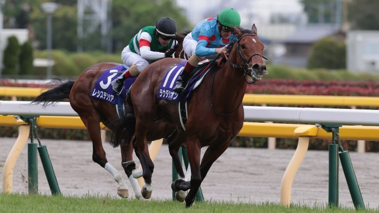 Lauda Sion and Mirco Demuro on the way to winning the NHK Mile at Tokyo on Sunday