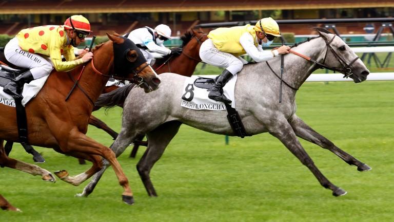 Batwan (Maxime Guyon) wins the Prix de Saint-Georges, the opening race at Longchamp
