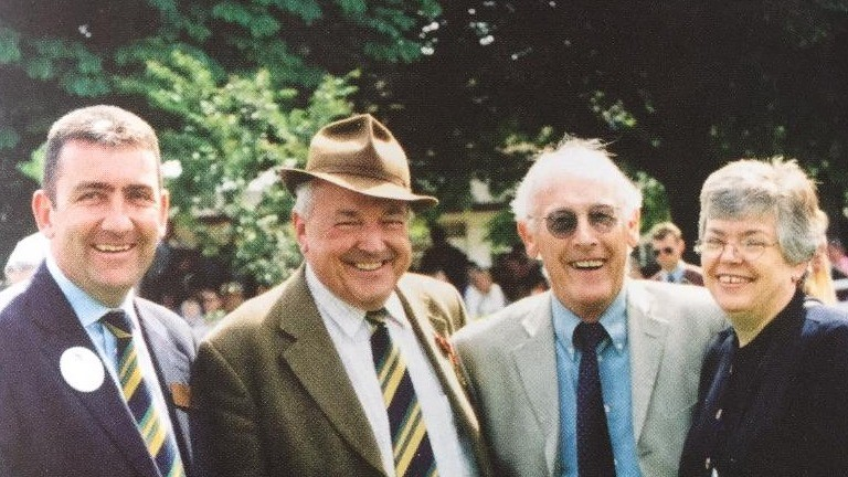 Roger Mant (second from the right) and his wife Maria, pictured with Phil Bell (far left) and Geoff Stickels