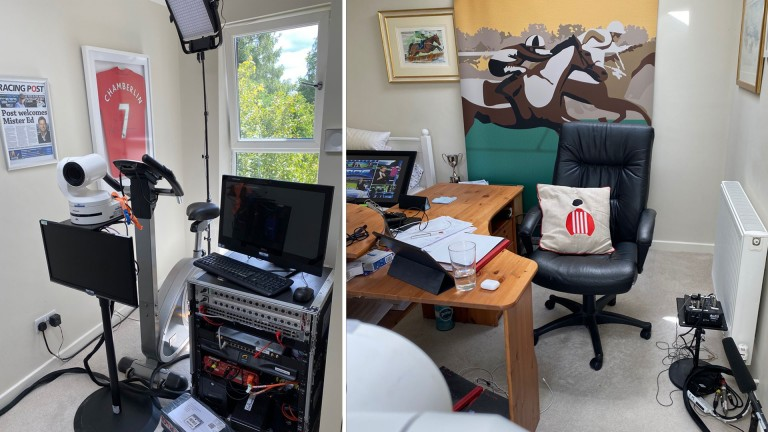 Ed Chamberlin's office at home where he will be broadcasting from