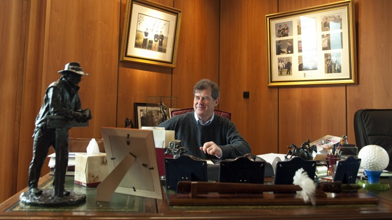 JP McManus in his office at Martinstown in 2010. The statue is of his friend John Magnier