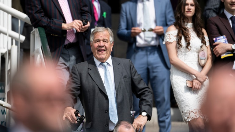 Newmarket trainer Sir Michael Stoute watches the Middleton Stakes unfold at York in 2018