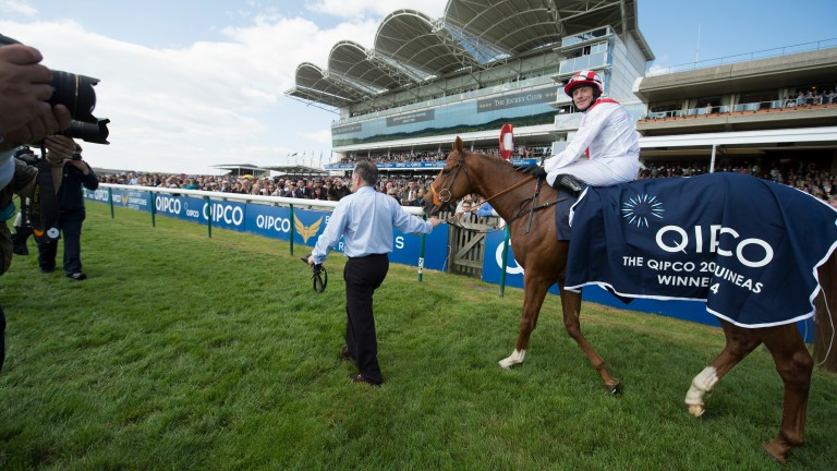 Night Of Thunder and Kieren Fallon after winning the 2014 2,000 Guineas at Newmarket