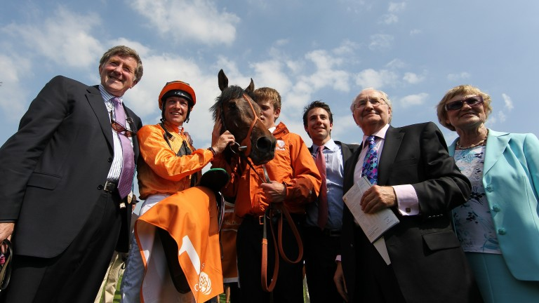 Peter Doyle (left) joins connections after Canford Cliffs' triumph in the Irish 2,000 Guineas