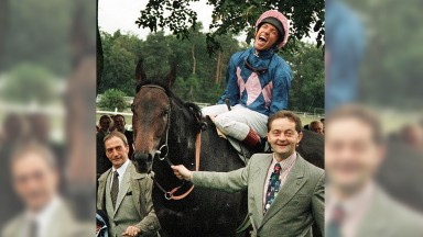 Frankie Dettori Italian super jockey  celebrates on Fujiyama Crest after making  history by winning  seven times in seven races at Ascot he started his 25095. 5-1   rides on the following horses Wall Street, Diffident,Mark of Esteem, Decorated Hero,Fatefu