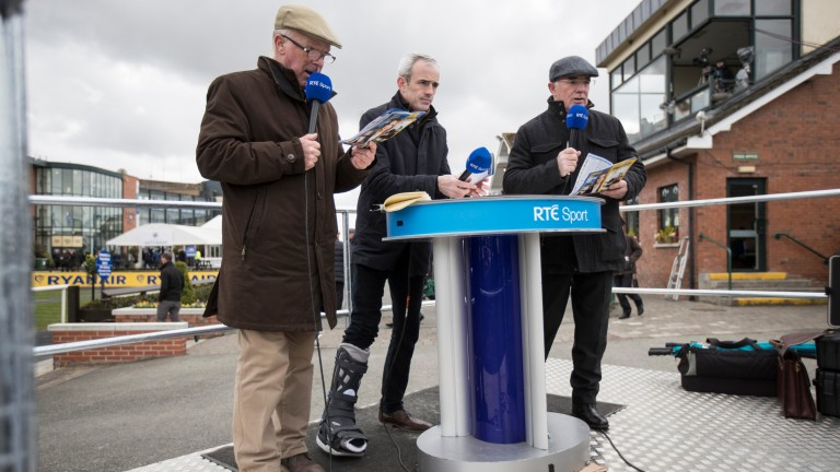 Ruby Walsh alongside his father Ted and Robert Hall while working for RTE at Fairyhouse in 2018