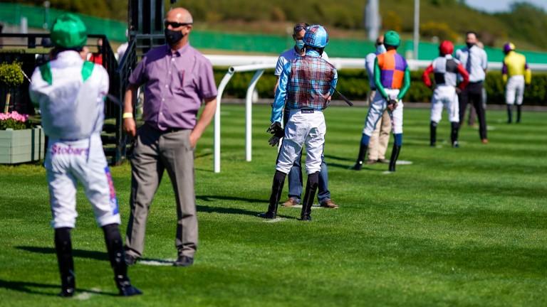 Jockeys social distancing at Newcastle