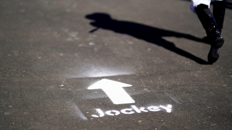 An arrow points the way for jockeys to use the one-way system at Newcastle