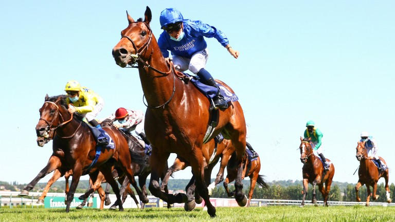 Victor Ludorum and Mickael Barzalona power to success in the Emirates Poule d'Essai des Poulains at Deauville