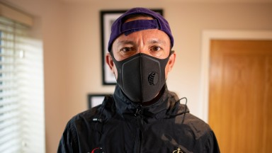Frankie Dettori puts on his exercise clothing ahead of a gruelling 1 hour on the treadmill in his gym at home near Newmarket 23.5.20Pic: Edward Whitaker