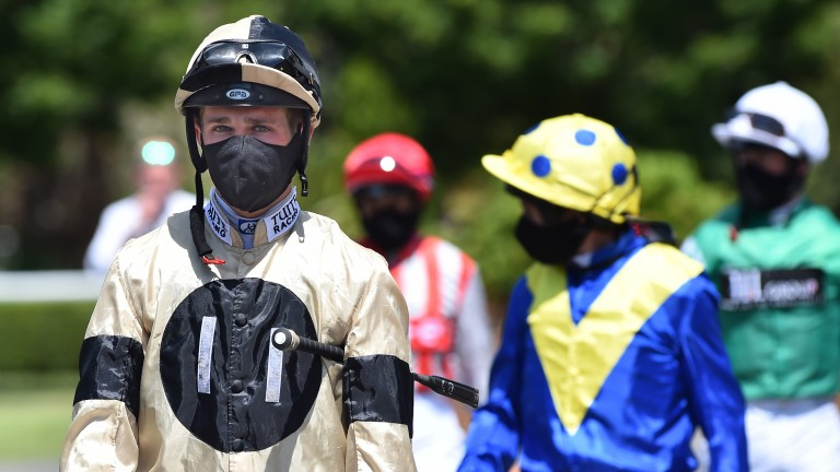 Jockeys will no longer have to wear masks on racecourses anywhere outdoors from Monday