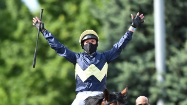 Frankie Dettori celebrates his win on Galsworthy at Kempton