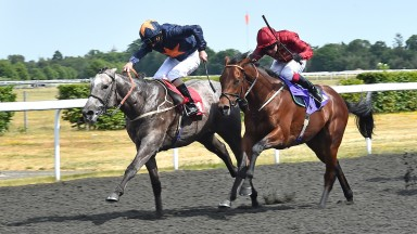 Army Of India (left) becomes the first two-year-old to win in Britain with a short-head success over Science