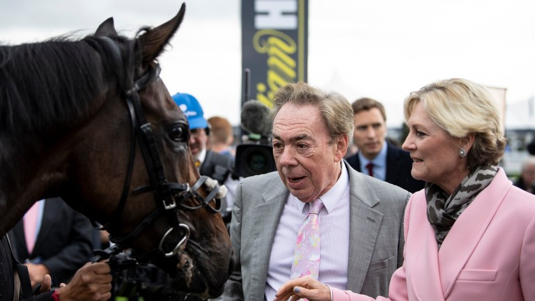 Lord and Lady Lloyd Webber with Too Darn Hot after the Champagne Stakes