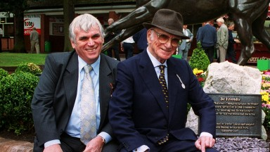 ALEC RUSSELL photograph  Haydock Park  6/9/03After the unveiling of the bronze of Be Friendly: L to R John Whittaker (MD Stanley Leisure) Sir Peter O'Sullevan, Philip Blacker (sculptor) and Bill Whittle, Chairman of Haydock Park Racecourse Mirrorpix