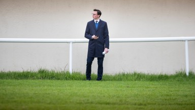 Joseph O'Brien watches his runner in the first head to post.The Curragh.Photo: Patrick McCann/Racing Post 07.06.2019