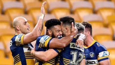 Parramatta Eels celebrate their emphatic win at Brisbane in round three