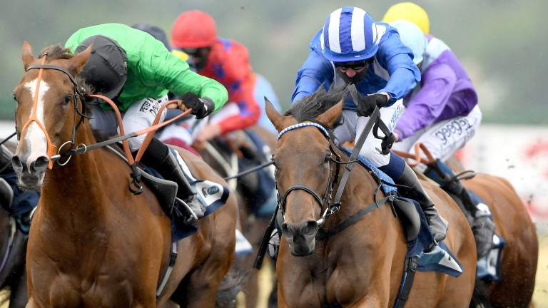 Nazeef (blue silks) gets the better of Billesden Brook at Kempton