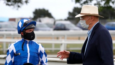 YARMOUTH, ENGLAND - JUNE 03: Dane O'Neill riding Haqeeqy speaks with John Gosden after winning The #betyourway at Betway Novices Stakes at Yarmouth Racecourse on June 03, 2020 in Yarmouth, England. (Photo by Dan Abraham/Pool via Getty Images)