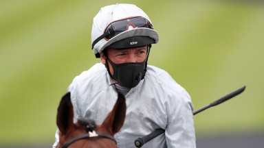 NEWMARKET, ENGLAND - JUNE 04: Frankie Dettori looks on ahead of the Betway EBF Stallions Novice Stakes at Newmarket Racecourse on June 04, 2020 in Newmarket, England. (Photo by David Davies/Pool via Getty Images)