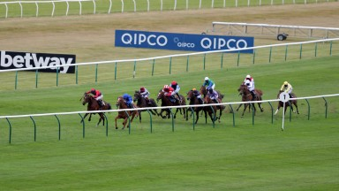 NEWMARKET, ENGLAND - JUNE 04: Creative Force ridden by William Buick (2L) goes on to win the Betway Maiden Stakes (Div 2) at Newmarket Racecourse on June 04, 2020 in Newmarket, England. (Photo by David Davies/Pool via Getty Images)
