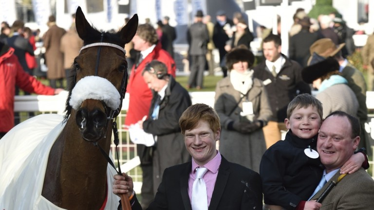 Harley Cornock (centre) with Any Currency and trainer Martin Keighley