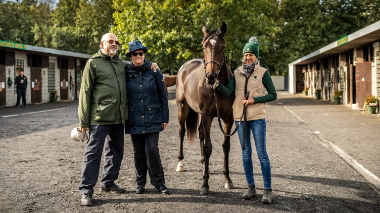 Vimal and Gillian Khosla with their Galileo filly out of Green Room