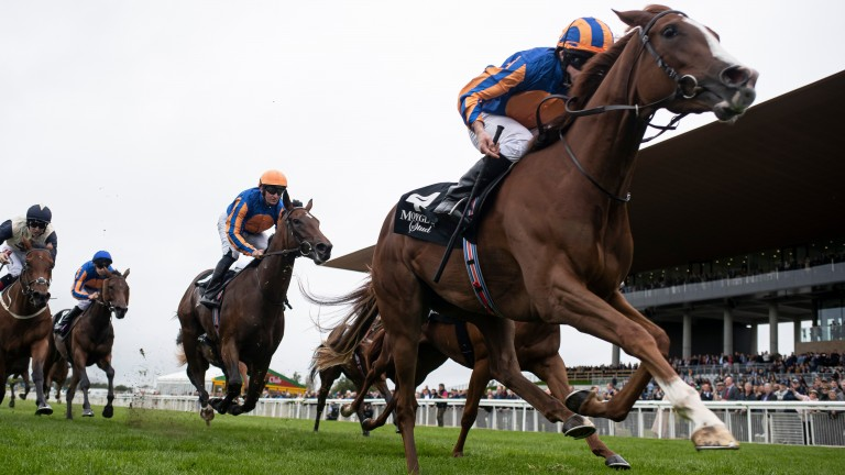 Love and Ryan Moore win the Moyglare Stud Stakes at the Curragh last September