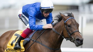 NEWMARKET, ENGLAND - JUNE 06: Terebellum ridden by Frankie Dettori wins the Betfair Dahlia Fillies Stakes at Newmarket Racecourse on June 06, 2020 in Newmarket, England. (Photo by Edward Whitaker/Pool via Getty Images)