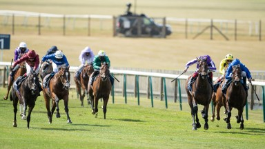 Kameko (Oisin Murphy,left) wins the Qipco 2000 Guineas from Wichita (2nd right) and Pinatubo (right)Newmarket 6.6.20 Pic: Edward Whitaker