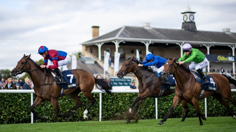 Alpen Rose (centre) chases home Powerful Breeze in the May Hill Stakes at Doncaster