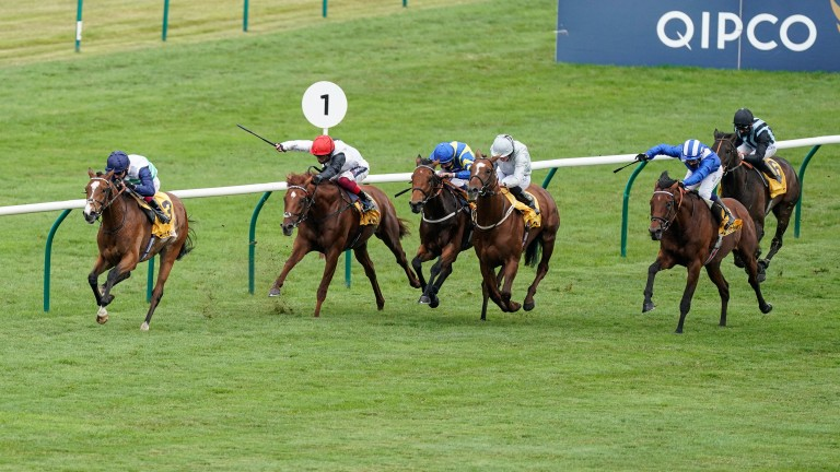 Oisin Murphy and Dashing Willoughby winning the Buckhounds Stakes at Newmarket