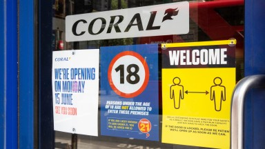 EMBARGOED TO 0001 TUESDAY JUNE 9EDITORIAL USE ONLY A betting shop in central London prepares to safely re-open to the public as GVC Holdings PLC announces plans to open all 2445 Coral and Ladbrokes from Monday June 15th, London. PA Photo. Issue date: Tues