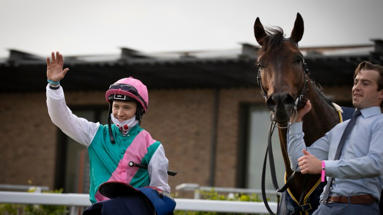 Colin Keane celebrates after he landed the Irish 2,000 Guineas on Siskin at the Curragh