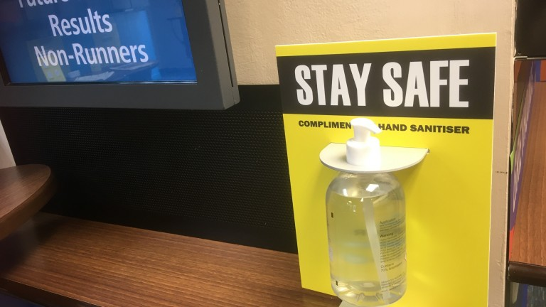 Hand sanitiser is readily available in the betting shop