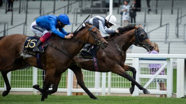 ASCOT, ENGLAND - JUNE 16: Circus Maximus ridden by Ryan Moore right beats Terebellum ridden by Frankie Dettori in the Queen Anne Stakes at Ascot Racecourse on June 16, 2020 in Ascot, England. (Photo by Edward Whitaker/Pool via Getty Images)