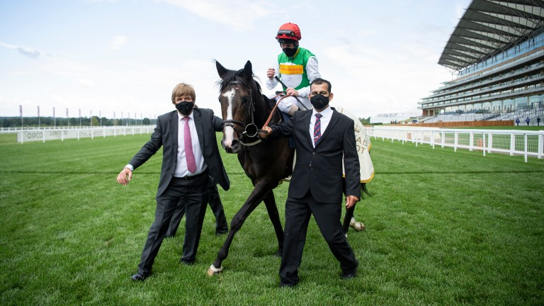 William Muir (left) greets Pyledriver after his victory at Royal Ascot