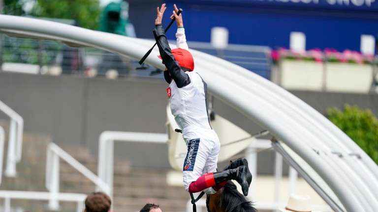 Frankie Dettori performs his trademark flying dismount after winning the Ribblesdale Stakes with Frankly Darling at Royal Ascot