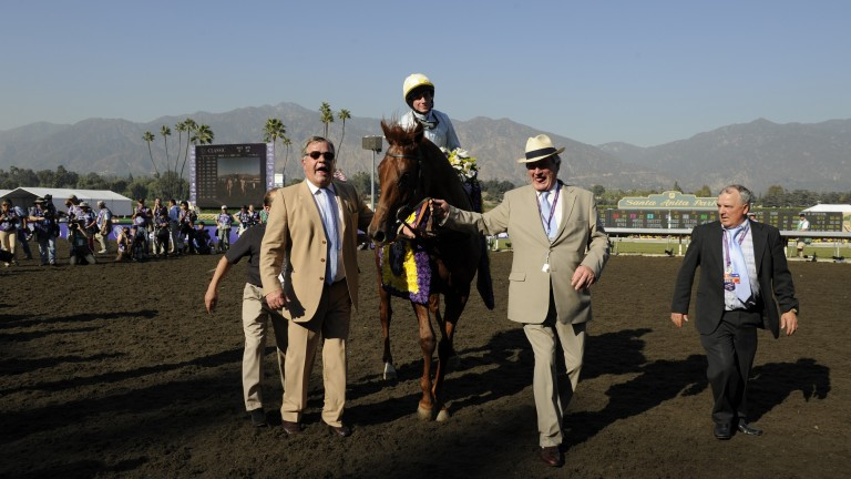 Sir Michael Stoute (left) and Peter Reynolds (second right) lead Conduit back to the winner's enclosure after his Breeders' Cup Turf victory