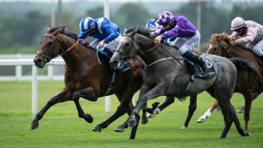 Hukum (Jim Crowley, blue and white) beats Kipps (David Probert) in the King George V StakesAscot 17.6.20 Pic: Edward Whitaker / Racing Post