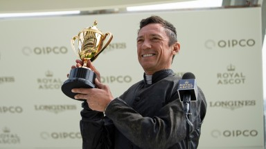 Frankie Dettori with the Ascot Gold Cup after Stradivarius had won the meeting's feature race for the third timeRoyal Ascot 18.6.20 Pic: Edward Whitaker/ Racing Post