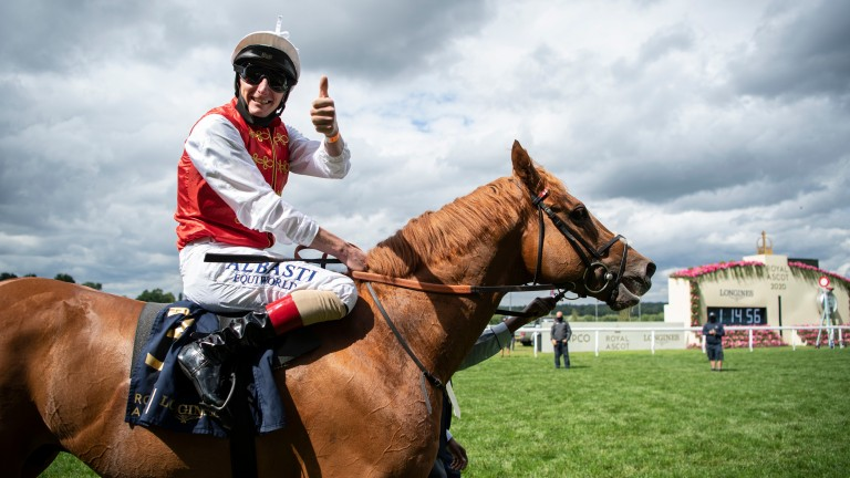 Thumbs up! Adam Kirby celebrates after partnering Golden Horde to victory