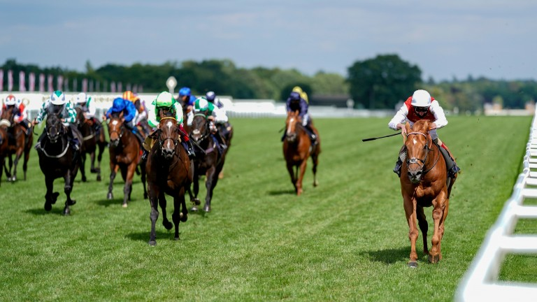 Golden Horde (right) hugs the stand-side rail en route to victory in the Group 1 Commonwealth Cup